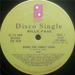 Billy Paul - It's Critical / Bring The Family Back FLAC